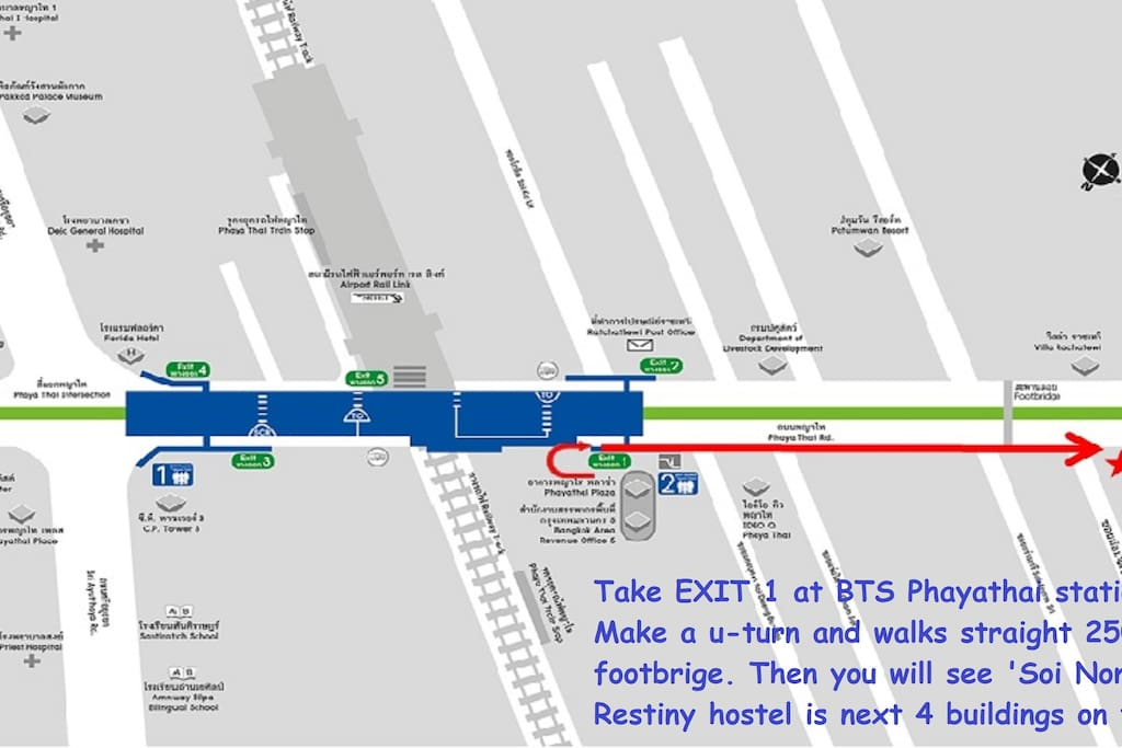 directions from BTS/Airport rail link Payathai station