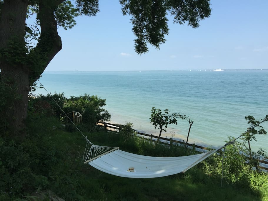 Hammock in the garden, looking on to the Solent