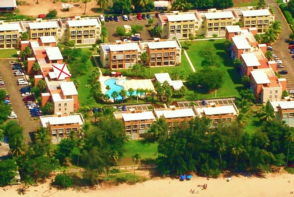 (Aerial View) Location of this villa is the blg with a Red X facing the pool area