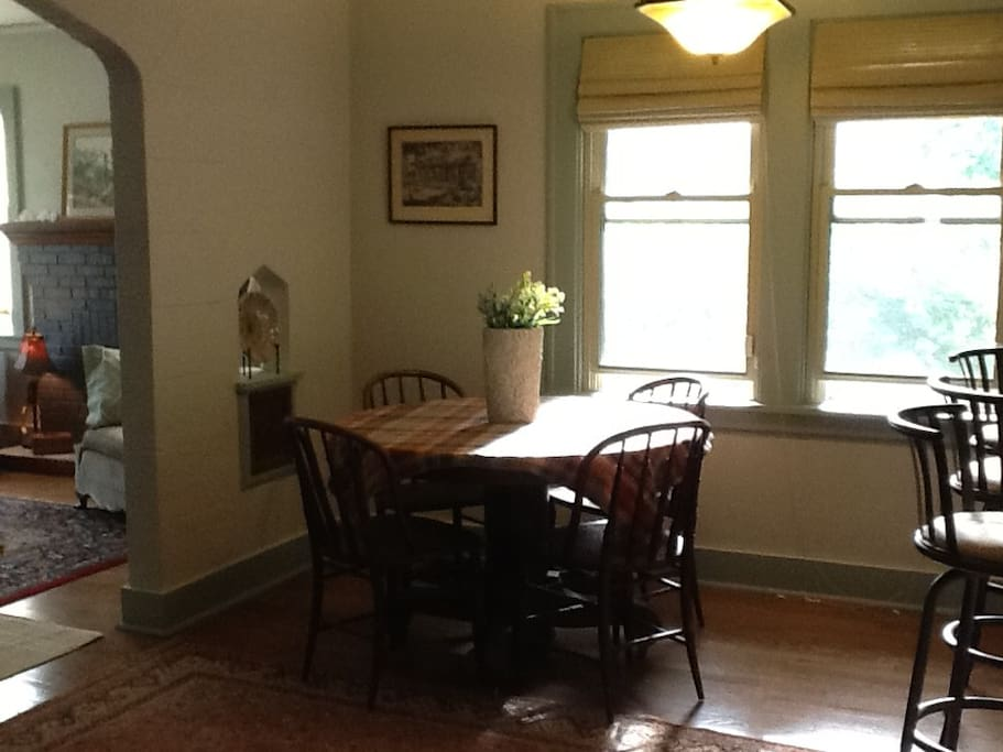 This is the dining area.  It is open to the kitchen on one side and the living room on the other side.