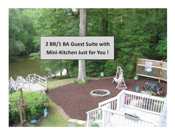 2BR 1BA Spacious Guest Suite, Woods & Water Views