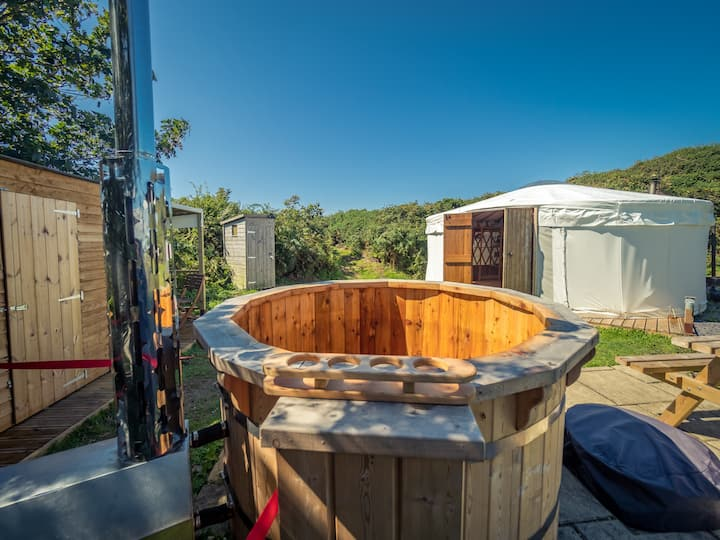 Seren Yurt with wood fired hot tub