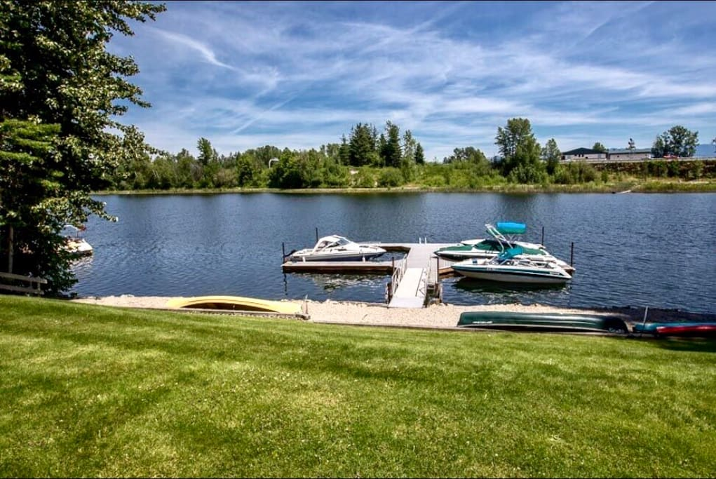 Gorgeous view of Lake Pend Oreille from the front door. Enjoy the private dock and well kept lawn.