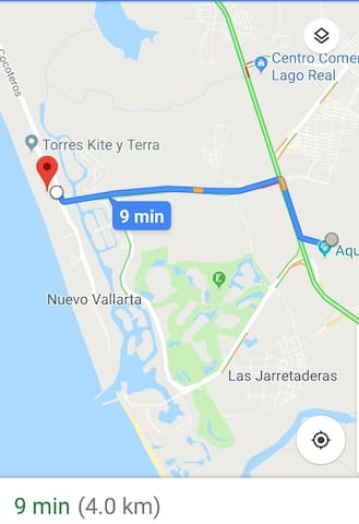 Only 9 minutes to the beach at 4 kilometers