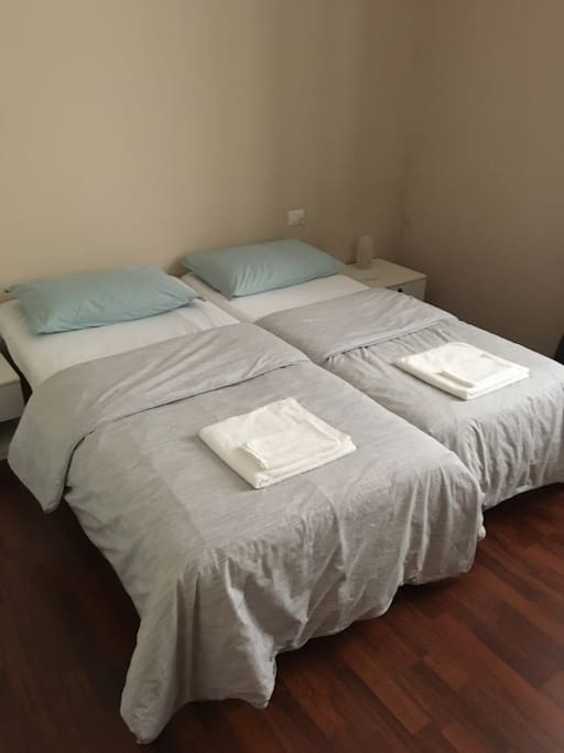 Two single beds with nice firm pillows.