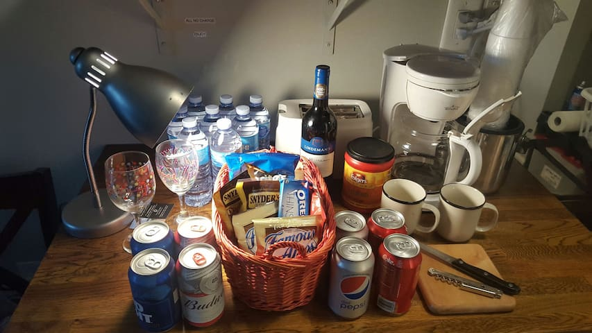 Complementary, Snacks, wine, beer, drinks and water all available on arrival.  Just an example of   Customer service one step beyond