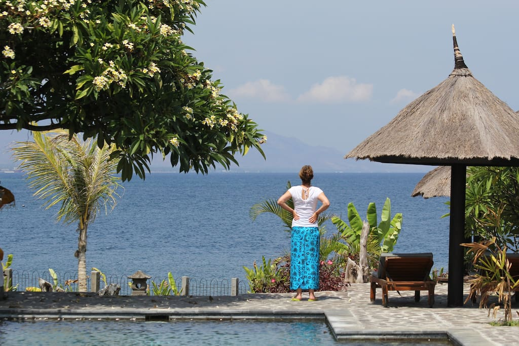 Day view from the garden/terrace: private pool and Bali Sea