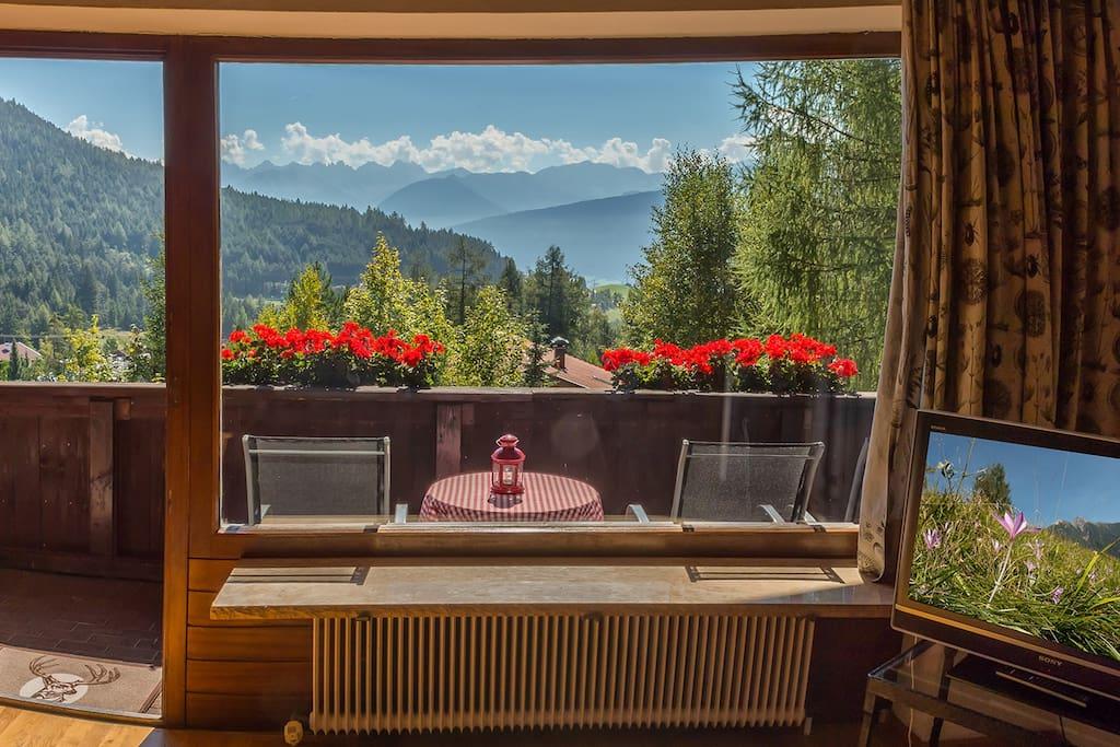Blick aus dem Wohnzimmer vom 3-Raum-Apartment nach draußen