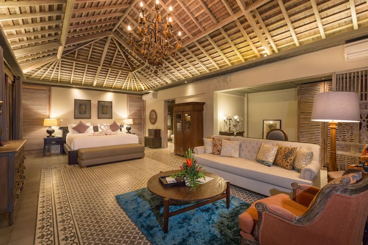 The beautiful master bedroom with a huge own living room