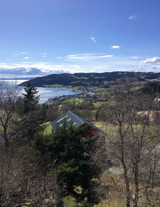 View from the place. You see Leksvik, the fjord and Trondheim on the other side.