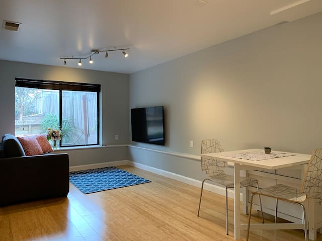 Living room area with dining table