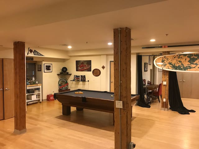 Antique pool table and record player