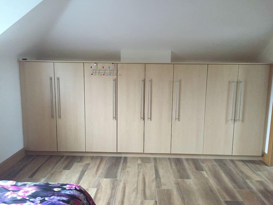 Substantial storage space in bedroom