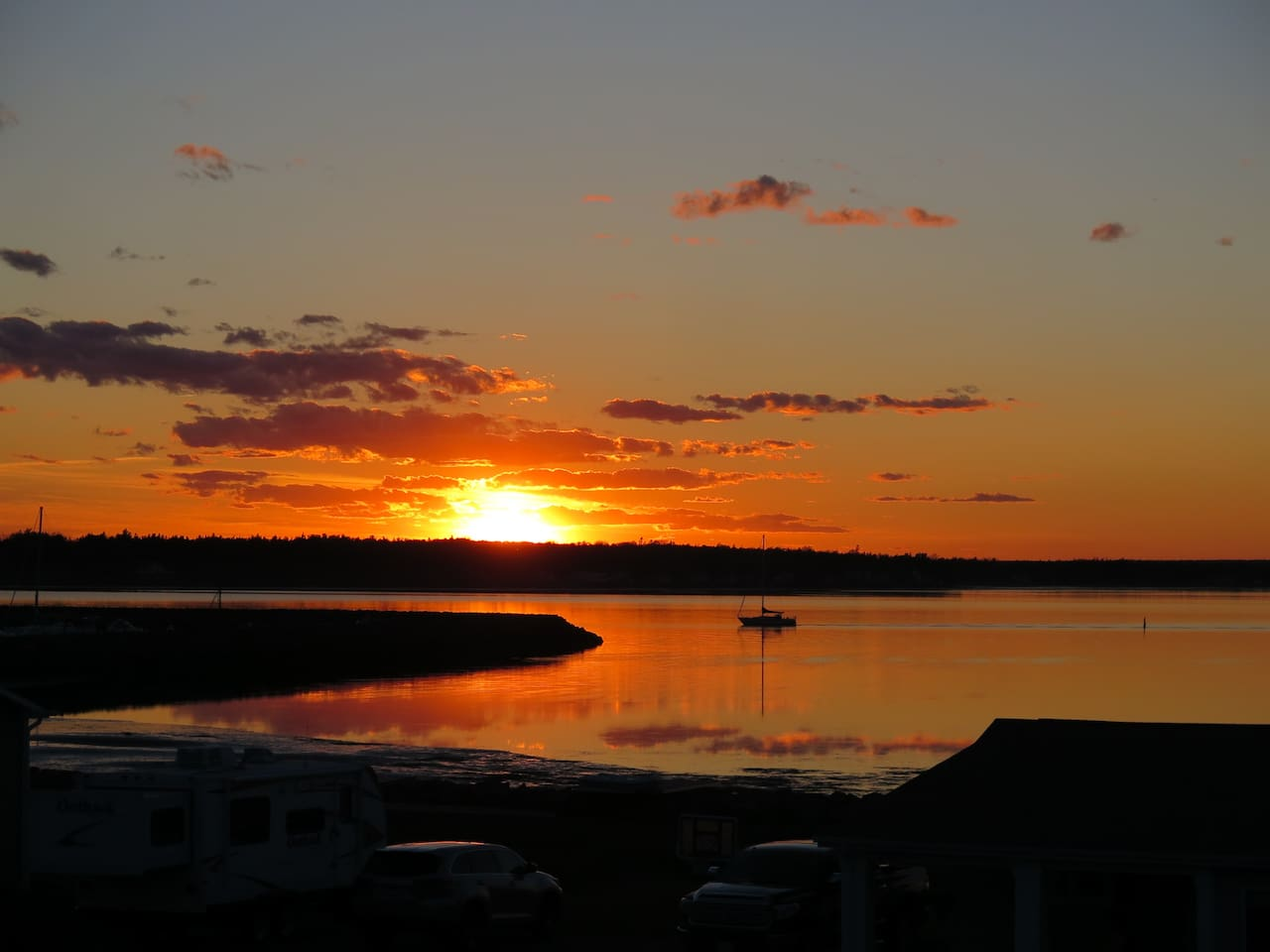 View from balcony of sunset over Shediac Bay Yacht Club.