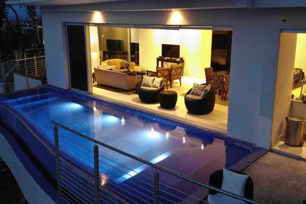 Private infinity pool off of the living room/kitchen