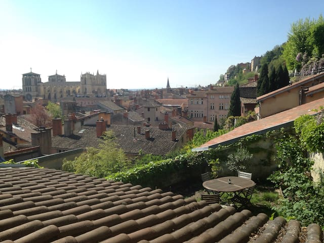 Lovely garden with panoramic view - Lyon - Huis