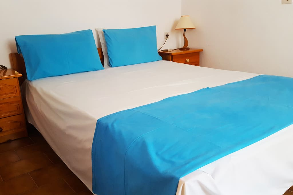 Blue white house bedroom 1 (1 double bed)