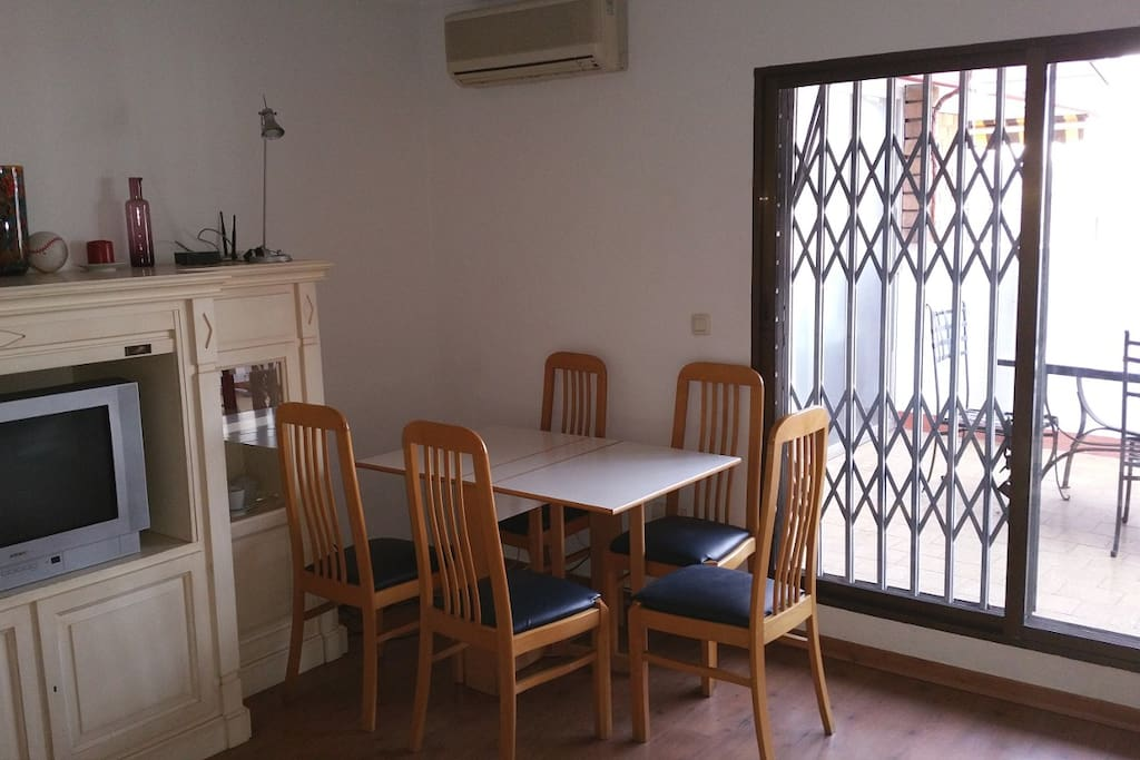 Dining area with window to terrace