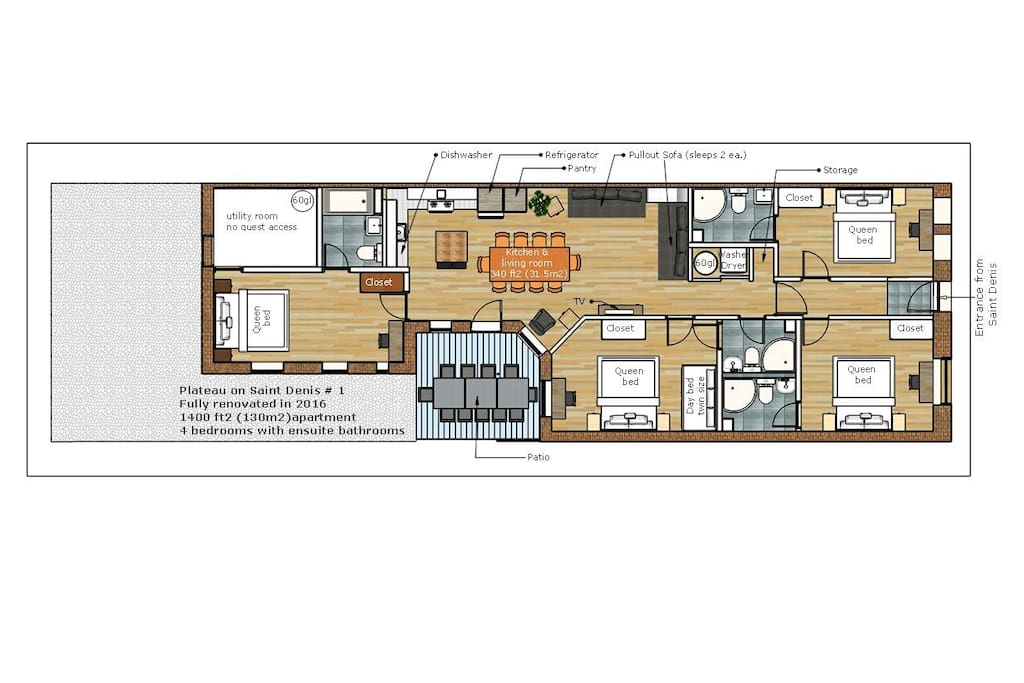 Actual plan showing furniture and proper size of beds.