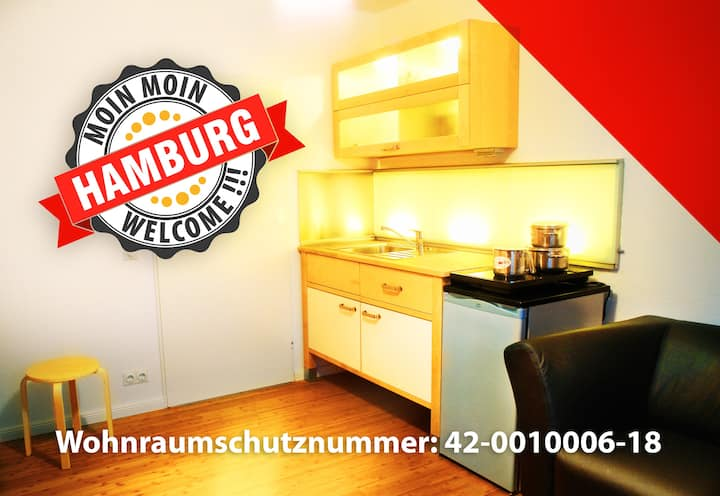 24h - Moin Hamburg! Incl. kitchen 15min from City!