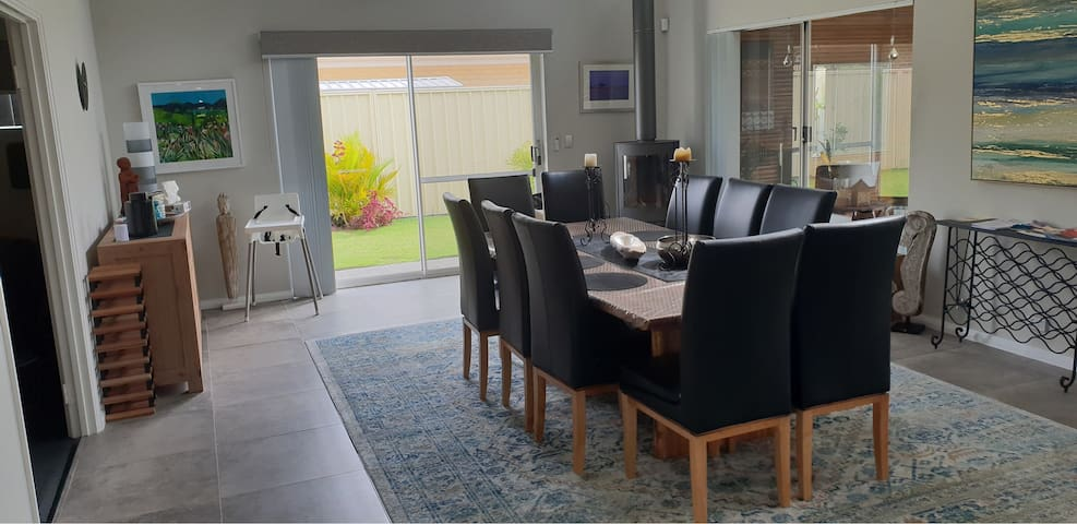 Formal dining with wood fired winter heating