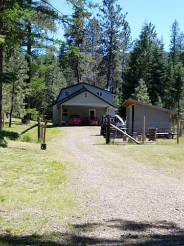 Front view leading to cabin.  Plenty of parking with 2 spot parking underneath carport.