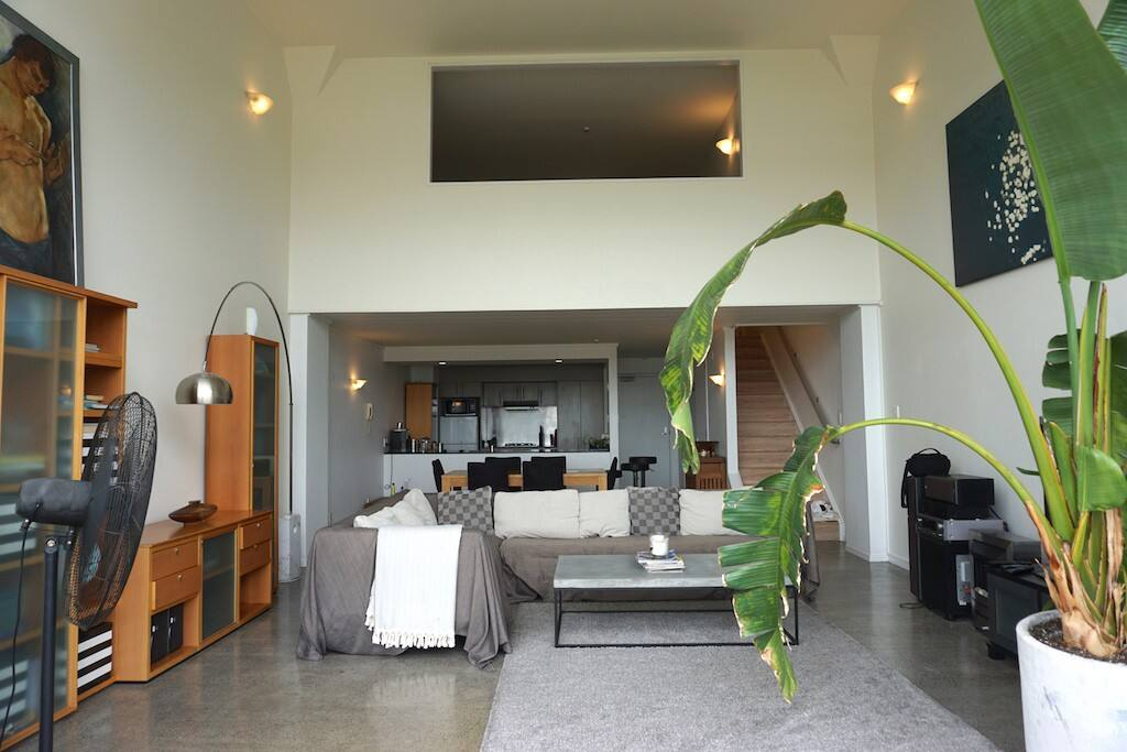 Living area, mezzanine bedroom above