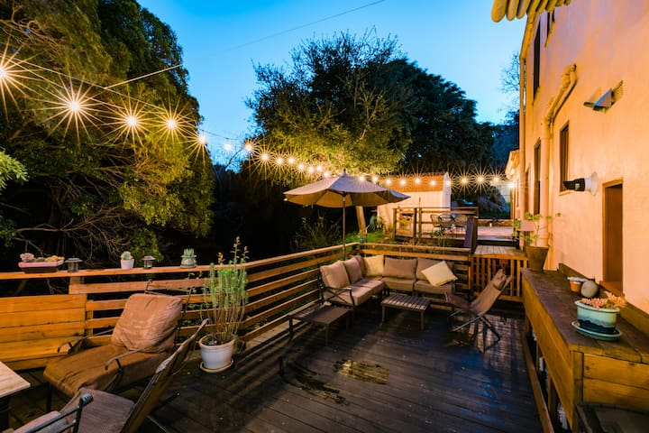 Private ~ gated deck alongside the Creek with views of Cerro San Luis.