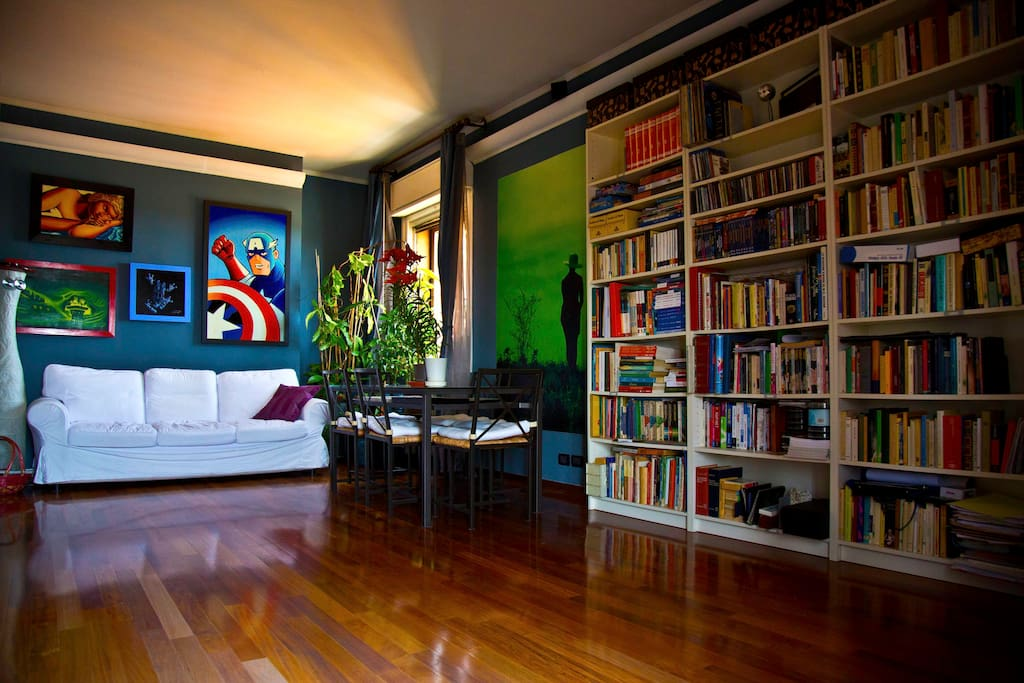 This is the Salon, wide and comfortable. The bookcase has many good books you can access to