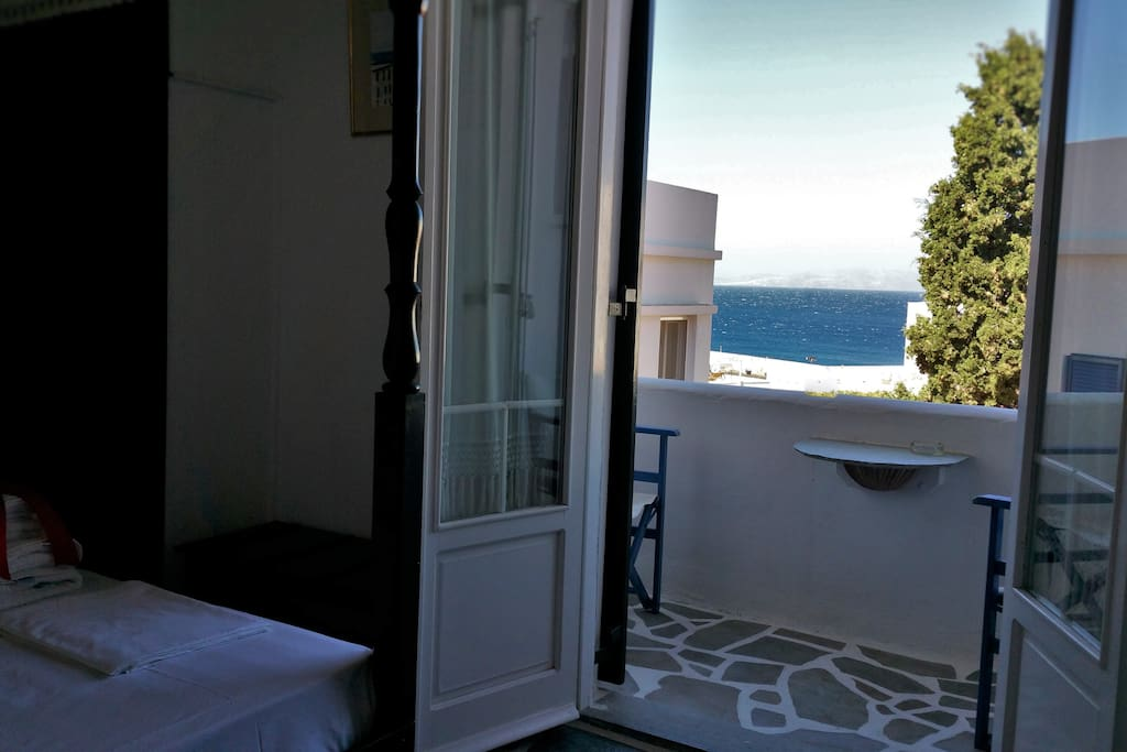 Sea view double room in Tinos town. View to Syros island and the port