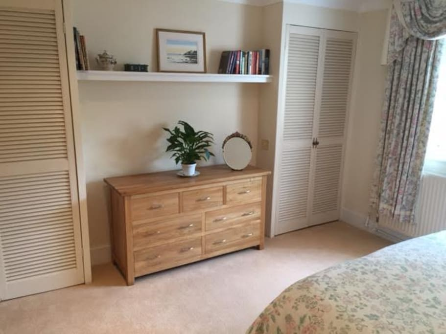 Plenty of storage for guests' use in the bedroom