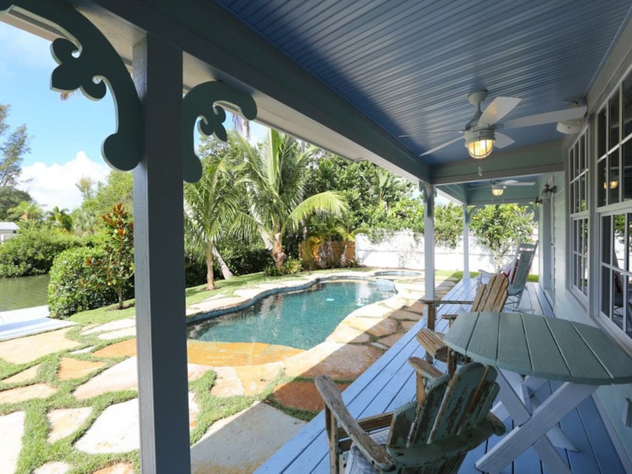 Heated pool and hot tub with a view of the mangrove-shaded intercoastal waterways.