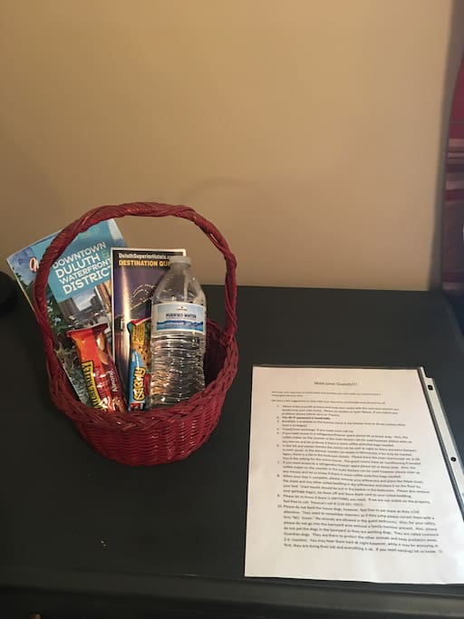 Welcome basket and helpful info