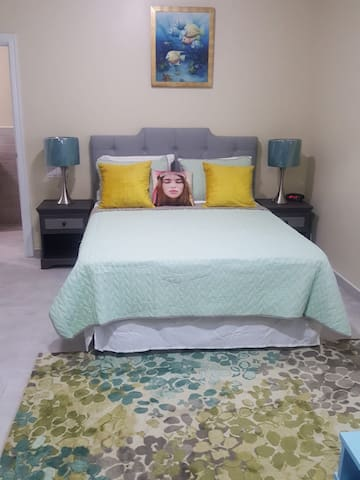 View of Studio 2 from entrance .  Spacious, Modern & new furniture. Blue Residence Studio 2 comes complete w/ towels, bed linens, AC, hot water, Smart TV, Free Netflix,  Free internet access (dependent on availability from provider), access to pool.