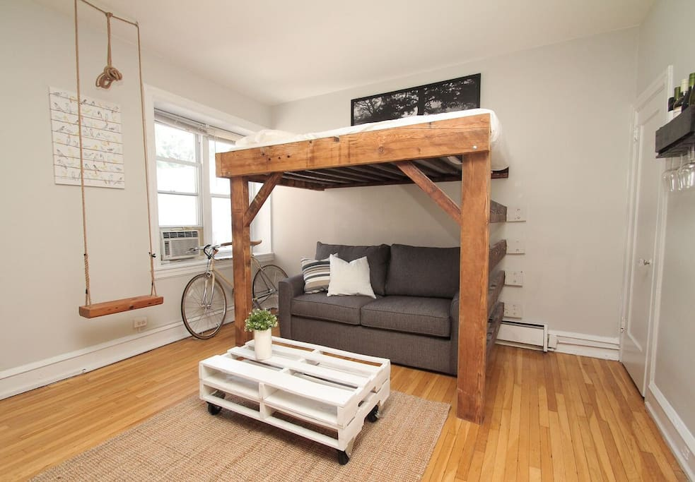 Queen size loft bed and full size sleeper sofa