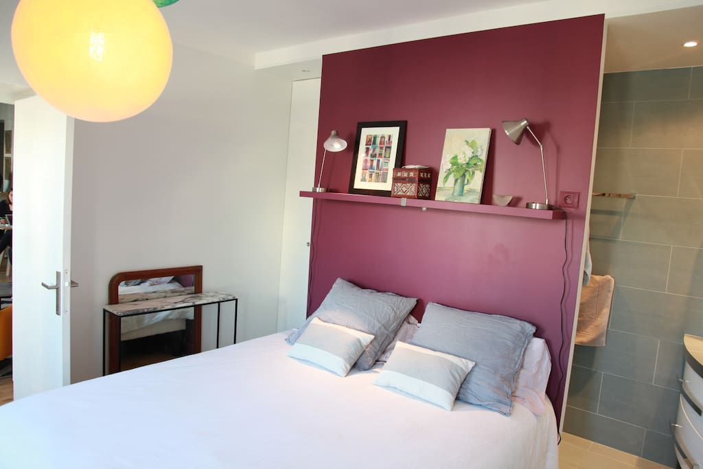 The bedroom is accommodated with a comfortable bed