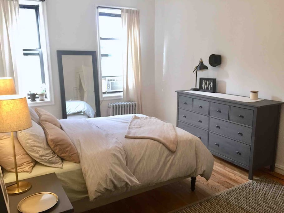 The bedroom gets beautiful light and is front facing with views of the park across the street