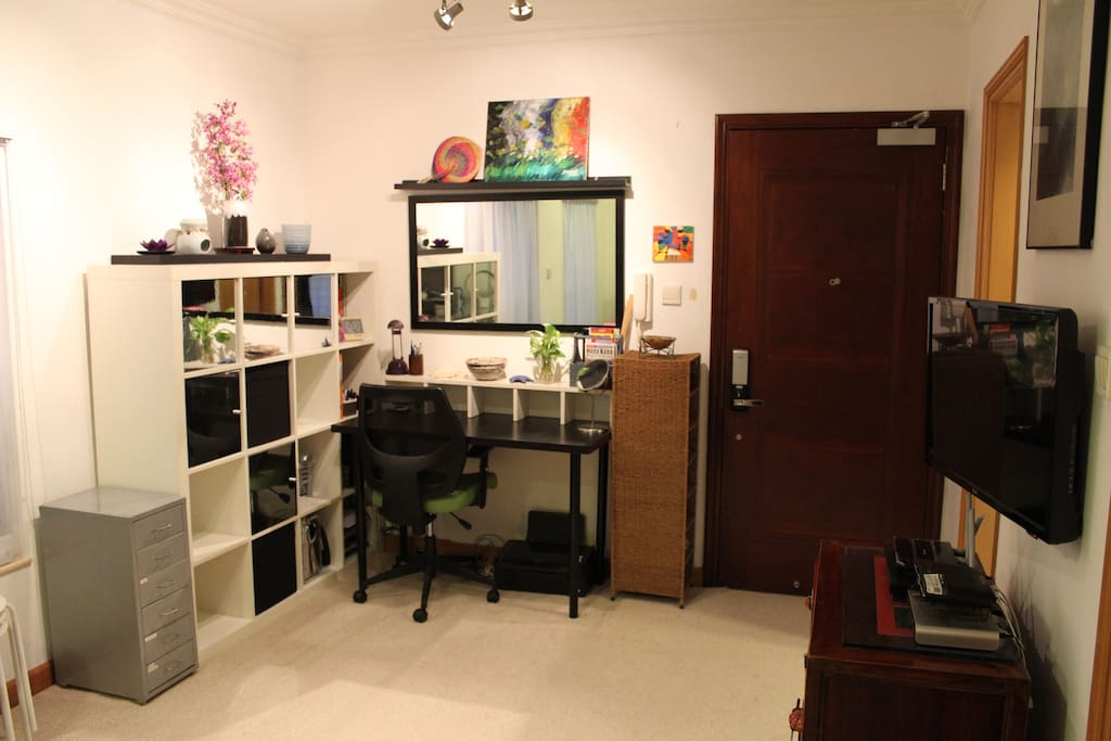 Shelving and storage, desk and desk chair.