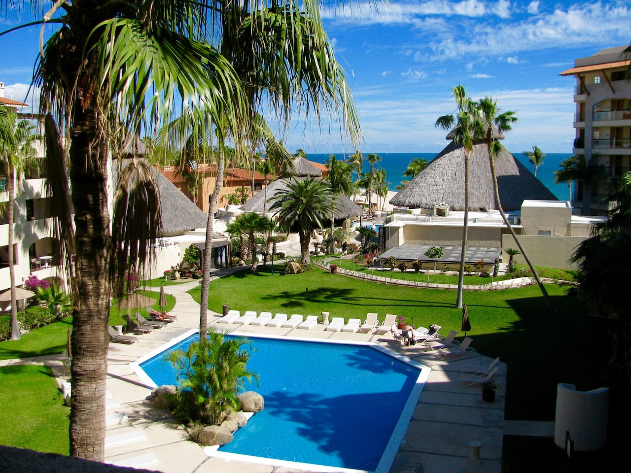 View from balcony overlooking our pool and the Sea of Cortez