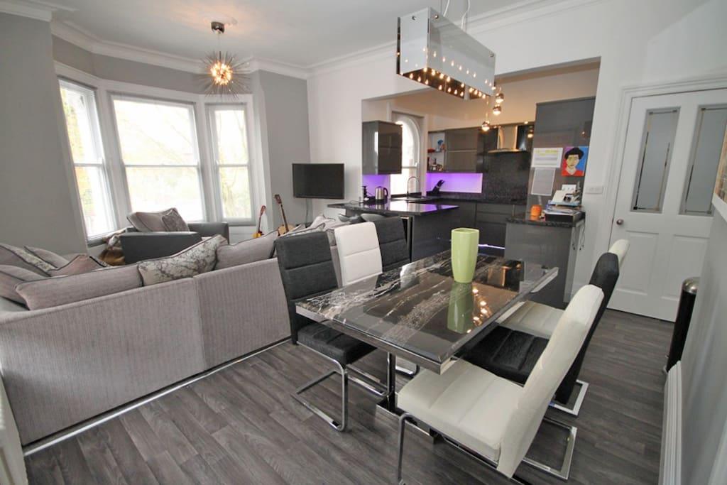 Open plan kitchen diner lounge