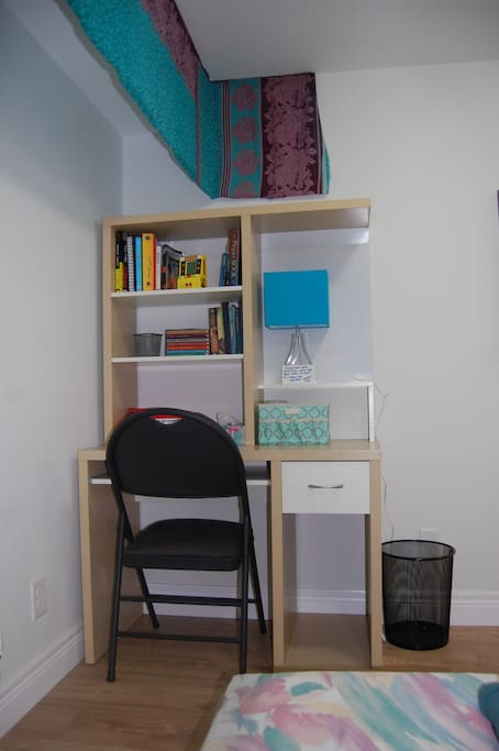 Work in private in your room, or feel free to work in more common areas around the house.