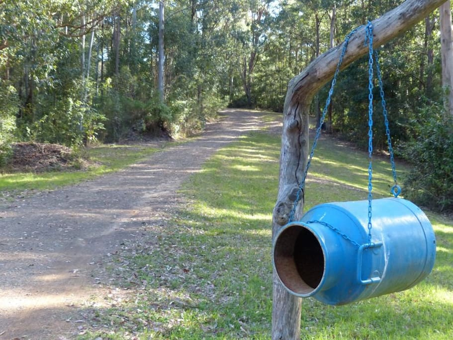 Turn in at the blue milk pail letterbox