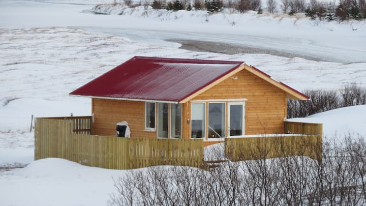 Hvammur Bjarg   Cottage with a private hot tub