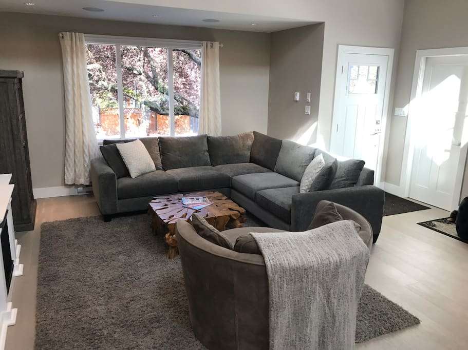 Sectional sofa and globe chair.