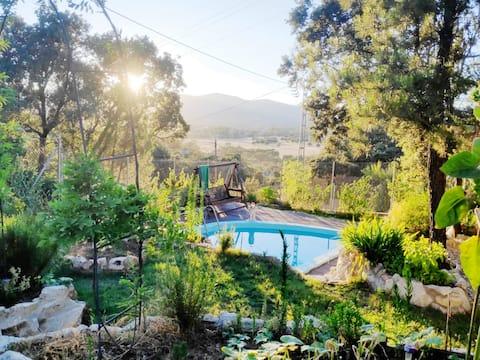 Caravana Vintage Wye Bryn en un jardín con piscina