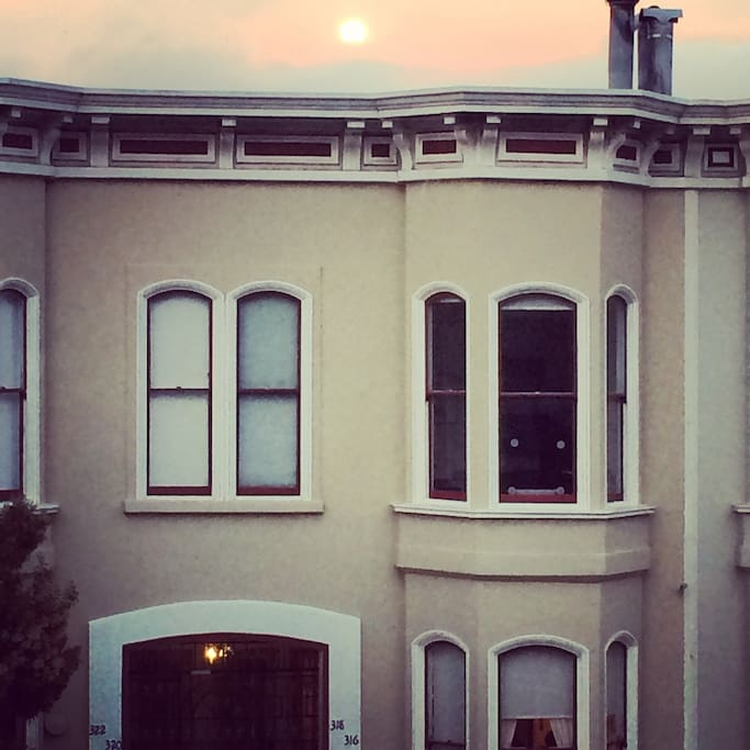 Beautiful San Francisco sunsets in lovely neighborhood in center of the city