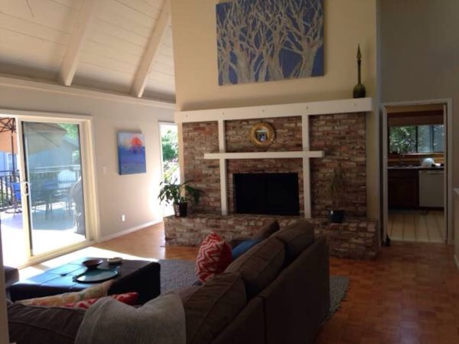 View towards kitchen and dining area.  Large outdoor deck off of main living area.