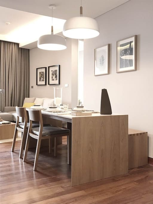 Marble-wood dining table