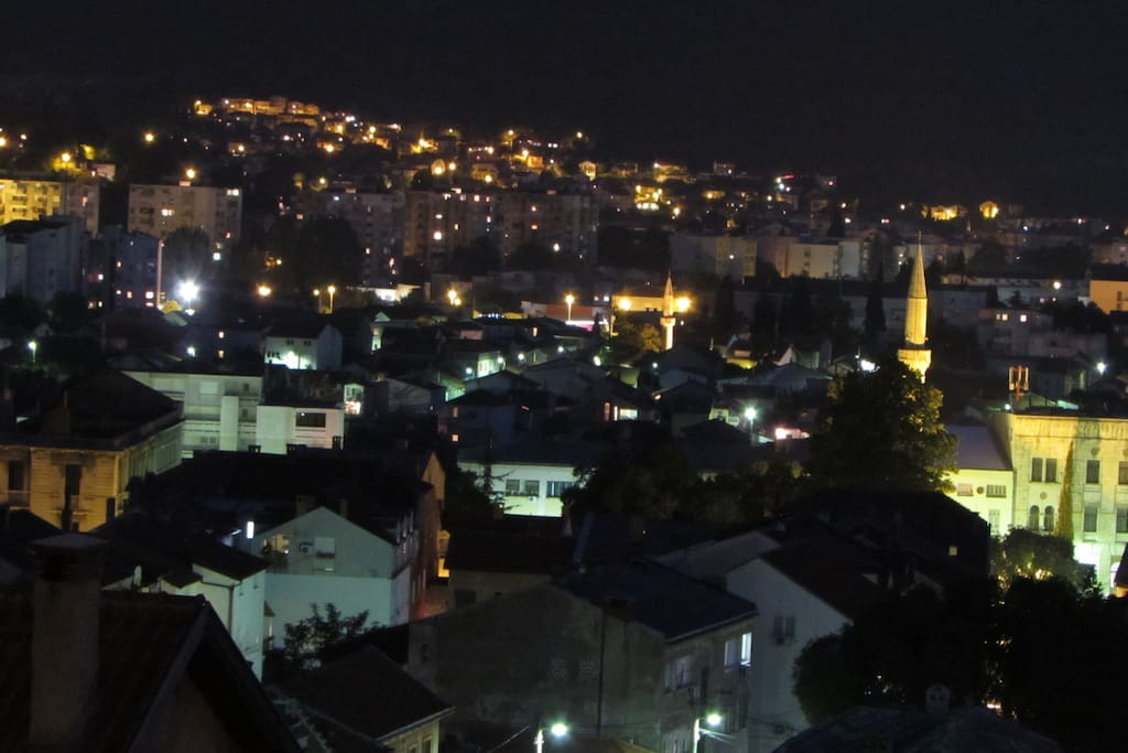 View of the city from the terrace at night