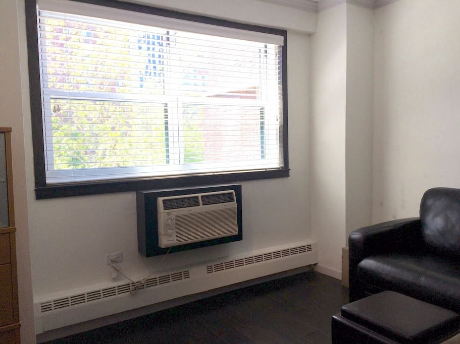 Apartment includes A/C and radiator heat for toasty warmth in the cold months.